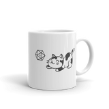 Dungeons and Dragons Shirt - Cute Cat With D20 Dice White Ceramic D&D Mug - DnD Shirts Dungeon Armory