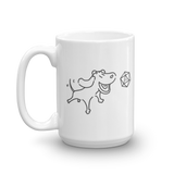 Happy Dog with D20 Dice White Ceramic Mug - Dungeon Armory - Tabletop RPG Shirt Dungeons & Dragons T-Shirt Pathfinder RPG T-Shirt