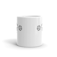 Dungeons and Dragons Shirt - Happy Dog with D20 Dice White Ceramic Mug - DnD Shirts Dungeon Armory