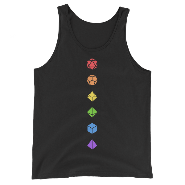 Colorful Polyhedral Dice Set Minimalistic Unisex RPG Tank Top - Dungeon Armory - Tabletop RPG Shirt Dungeons & Dragons T-Shirt Pathfinder RPG T-Shirt