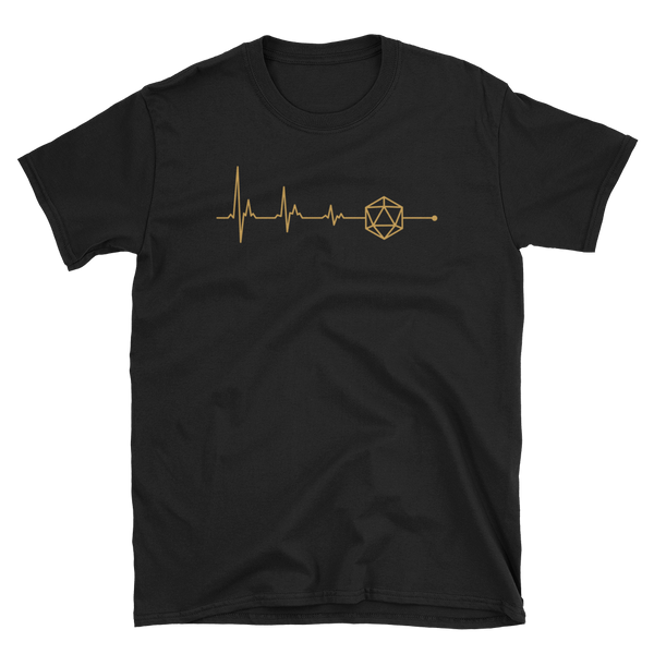 TRPG in my Heart D20 Dice Heartbeat Unisex RPG Shirt - Dungeon Armory - Tabletop RPG Shirt Dungeons & Dragons T-Shirt Pathfinder RPG T-Shirt