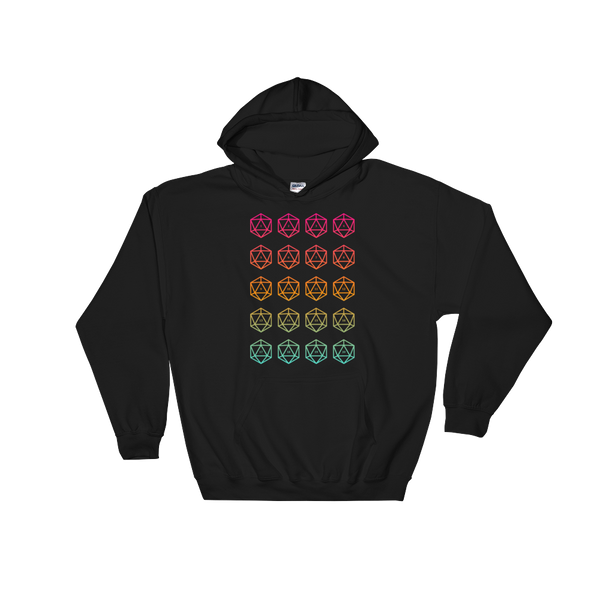 Colorful D20 Dice Unisex RPG Hoodie - Dungeon Armory - Tabletop RPG Shirt Dungeons & Dragons T-Shirt Pathfinder RPG T-Shirt