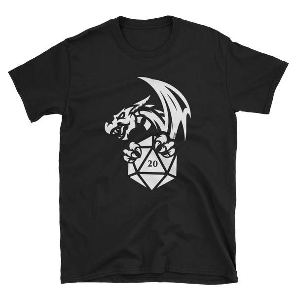 Dragon with D20 Dice RPG Shirt - Dungeon Armory - Tabletop RPG Shirt Dungeons & Dragons T-Shirt Pathfinder RPG T-Shirt
