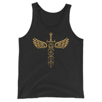 Winged Polyhedral Dice Sword Unisex RPG Tank Top - Dungeon Armory - Tabletop RPG Shirt Dungeons & Dragons T-Shirt Pathfinder RPG T-Shirt