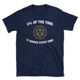 D20 Dice 5% of the Time It Works Every Time Meme Unisex RPG Shirt - Dungeon Armory