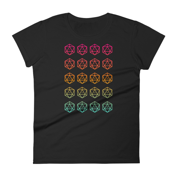 Colorful D20 Dice Women's RPG Shirt - Dungeon Armory - Tabletop RPG Shirt Dungeons & Dragons T-Shirt Pathfinder RPG T-Shirt