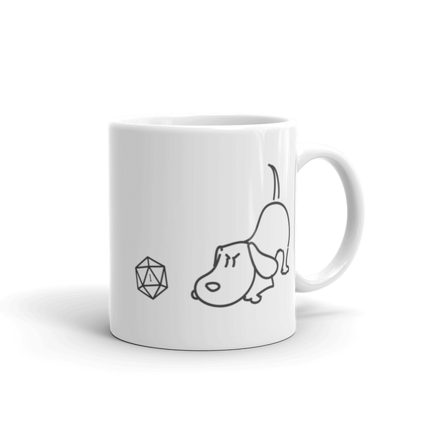 Dungeons and Dragons Shirt - Cute Dog with D20 Dice White Ceramic Mug - DnD Shirts Dungeon Armory