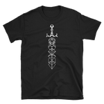 Minimalist Dice Sword Magic Item White Unisex RPG Shirt - Dungeon Armory - Tabletop RPG Shirt Dungeons & Dragons T-Shirt Pathfinder RPG T-Shirt