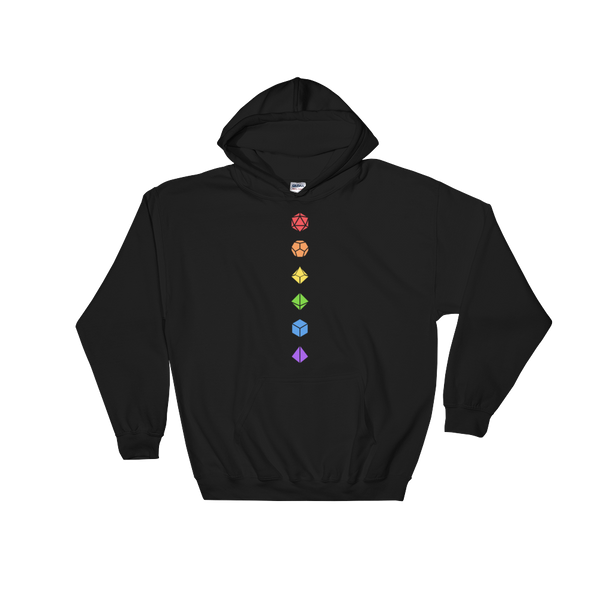 Colorful Polyhedral Dice Set Minimalistic Unisex RPG Hoodie - Dungeon Armory - Tabletop RPG Shirt Dungeons & Dragons T-Shirt Pathfinder RPG T-Shirt