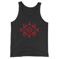 Red D20 Dice Unisex RPG Tank Top - Dungeon Armory - Tabletop RPG Shirt Dungeons & Dragons T-Shirt Pathfinder RPG T-Shirt