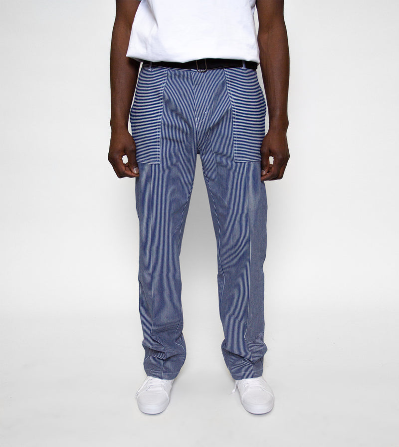 striped worker pant on model