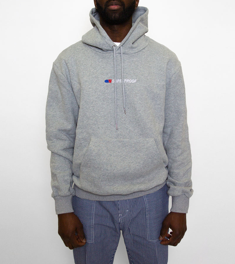 stock hoodie grey on model