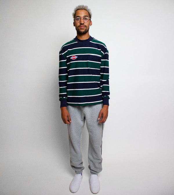 Reverse Moc Neck LS - Navy/Green Stripe
