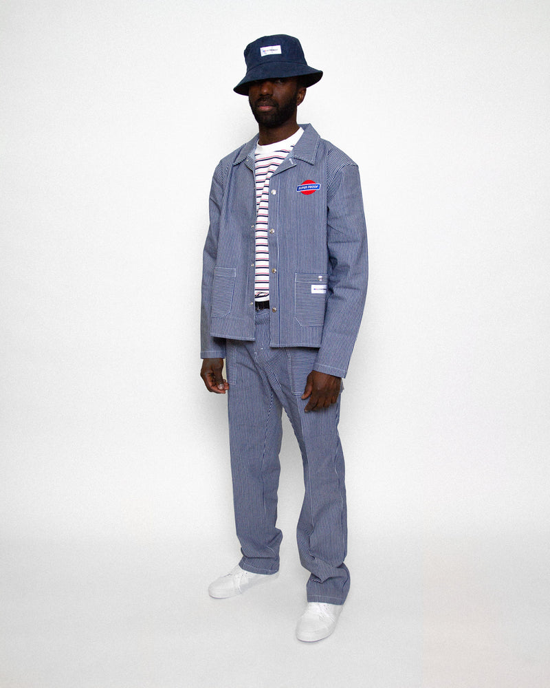 canvas worker jacket and pant on model
