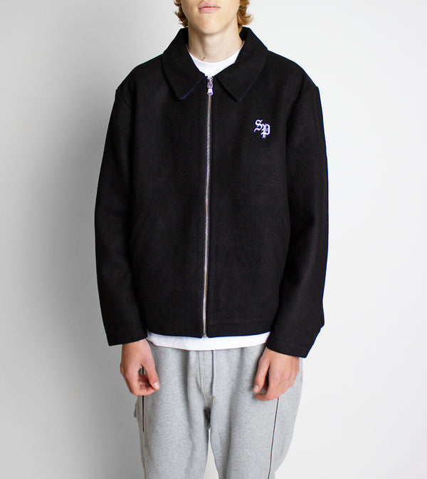 Full Zip Wool Jacket - Black