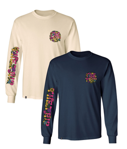 THE TRIP FLORAL LONG SLEEVE TEE NAVY
