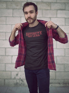 bearded man wearing different not less t-shirt putting on a plaid shirt over it