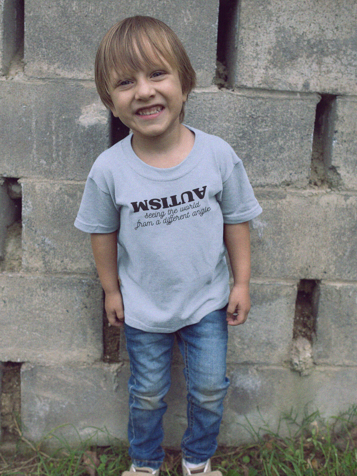boy wearing autism seeing the world from a different angle t-shirt