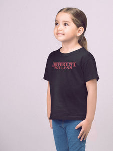 girl wearing different not less t-shirt