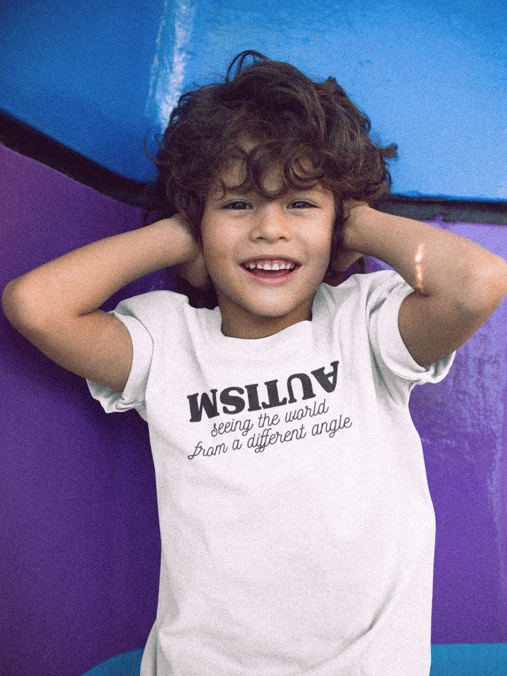 Kid Wearing Autism Seeing The World From A Different Angle T-Shirt Covering Ears