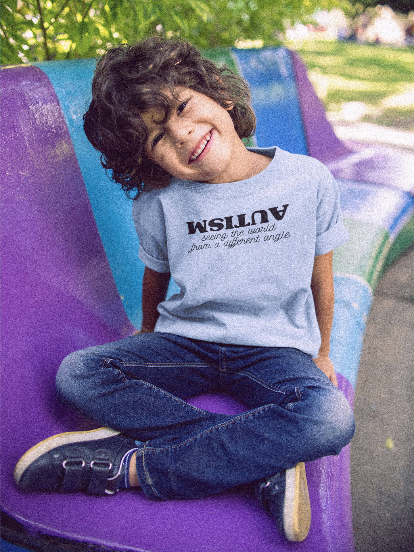 kid wearing autism seeing the world from a different angle t-shirt sitting