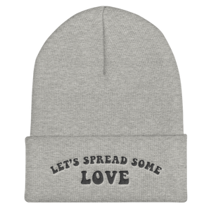 Unisex Grey Let's Spread Some Love Cuffed Beanie