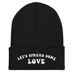 Unisex Black Let's Spread Some Love Cuffed Beanie