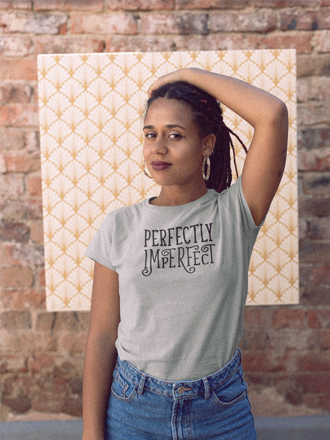 Woman Wearing Perfectly Imperfect Grey Autism T-Shirt Brick Background