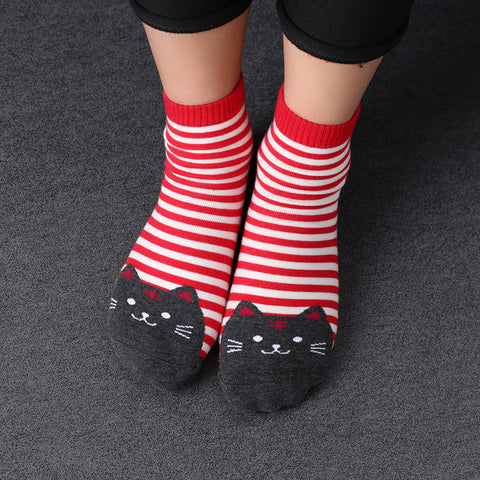 Stripe and cat face socks