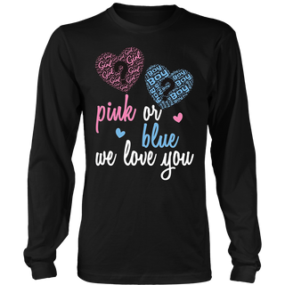 Pink or Blue we love you gender reveal party graphic t-shirt