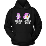 Before Wine & After Wine Funny Unicorn T-Shirt Quotes Hoodie