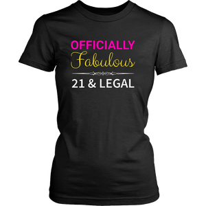 21st Birthday T-Shirt For Her, Fabulous 21 & Legal
