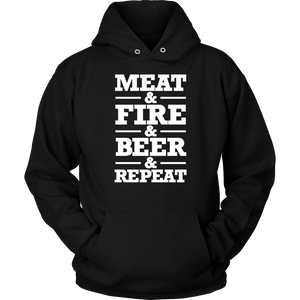 Barbecue Grill BBQ Long Sleeve T Shirt Meat Fire Beer Repeat