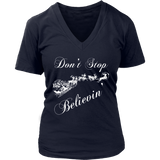 Believe Christmas Shirt - Don't Stop Believing Santa Shirt Quotes Hoodie