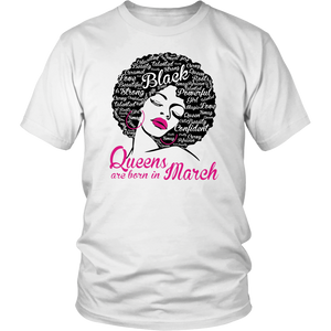 Queens Are Born In March - Afro Words Art Natural Hair Shirt