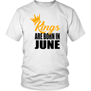 Mens Kings Are Born In June Gold Text Birthday Gift Shirt