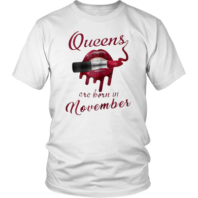 Queens are born in november red lip lipstick shirt