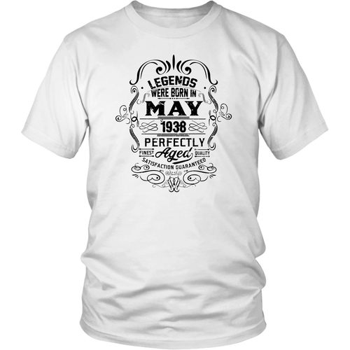 Vintage 80th Birthday Legends Were Born In May 1938 Tshirt