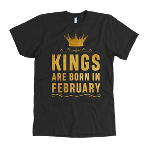 Birthday T-Shirt for Black Men Kings Are Born In February