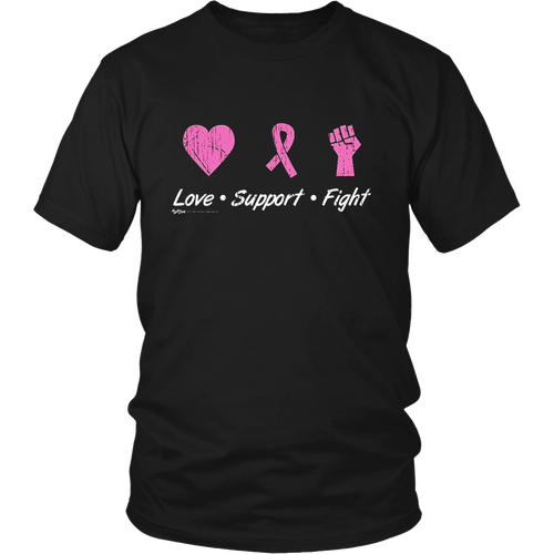 Vintage Love Support Fight - Breast Cancer Awareness T Shirt