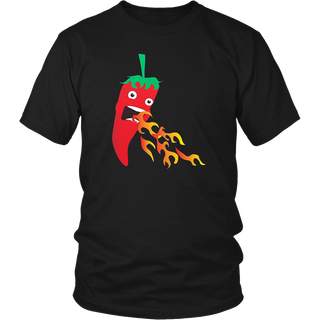 Chilli Pepper Breathing Fire, Funny Hot Sauce Food T-shirt