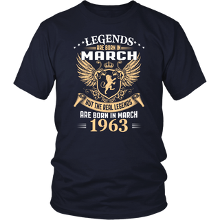 Legends Are Born In March 1963 - 55th Birthday Gift T-Shirt