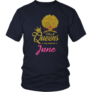 Women's Black Queens Are Born In June - Birthday T-Shirt