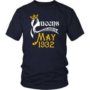 Queens Are Born In May 1932 - 86th Birthday Gift T-Shirt