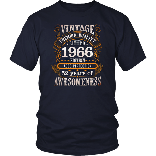 Vintage Born in 1966 52nd Birthday 52 Years Old Awesome Gift T-Shirt