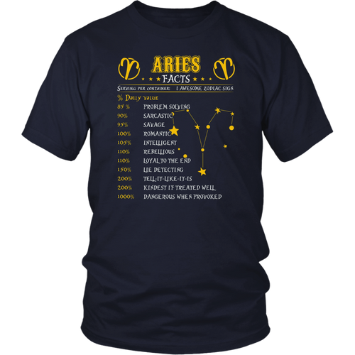 Aries Facts Zodiac Sign Birthday T-Shirt