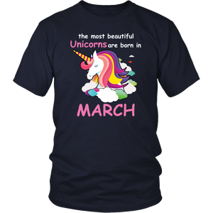 Unicorns Are Born In March - Birthday Girl Gift Rainbow T-Shirt