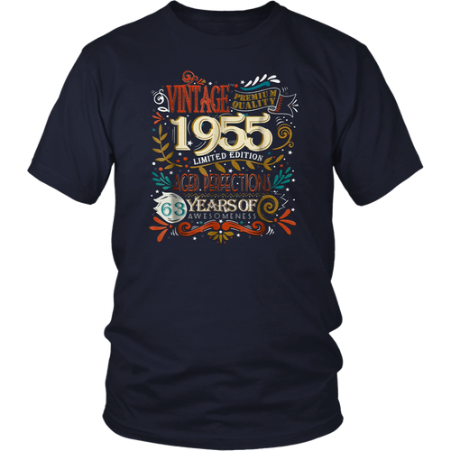 Vintage Born in 1955 63rd Birthday 63 Years Old Awesome Gift T-Shirt
