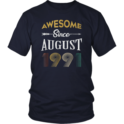 Awesome Since August 1991 | 27th Birthday Gift Vintage  Shirt