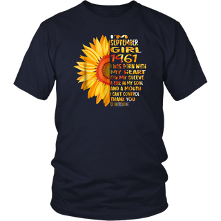 57th Birthday Gift Sunflower Born September Girl 1961 Shirt